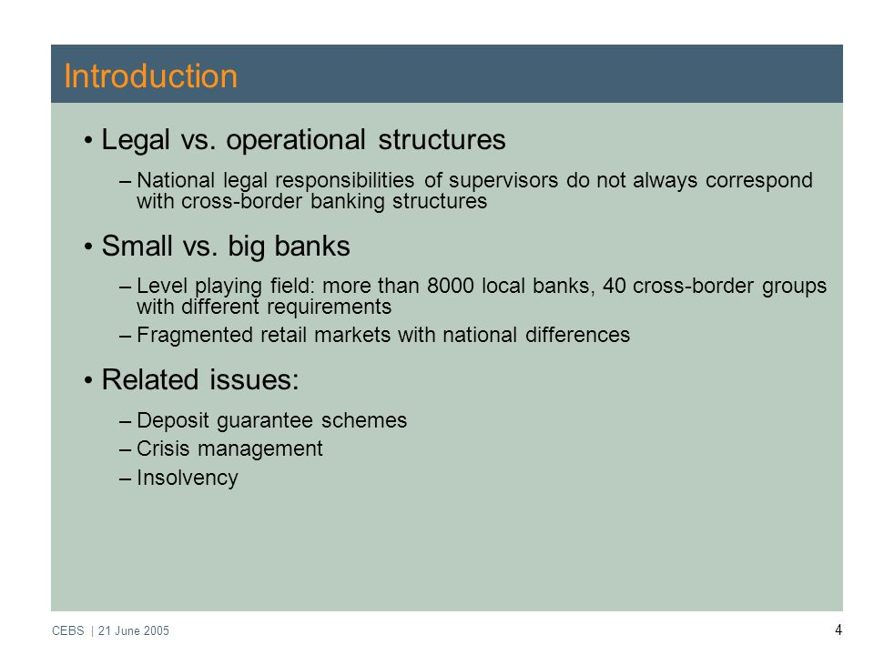 CEBS | 21 June Introduction Legal vs.