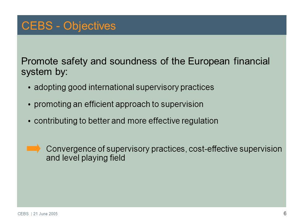 CEBS | 21 June CEBS - Objectives Promote safety and soundness of the European financial system by: adopting good international supervisory practices promoting an efficient approach to supervision contributing to better and more effective regulation Convergence of supervisory practices, cost-effective supervision and level playing field