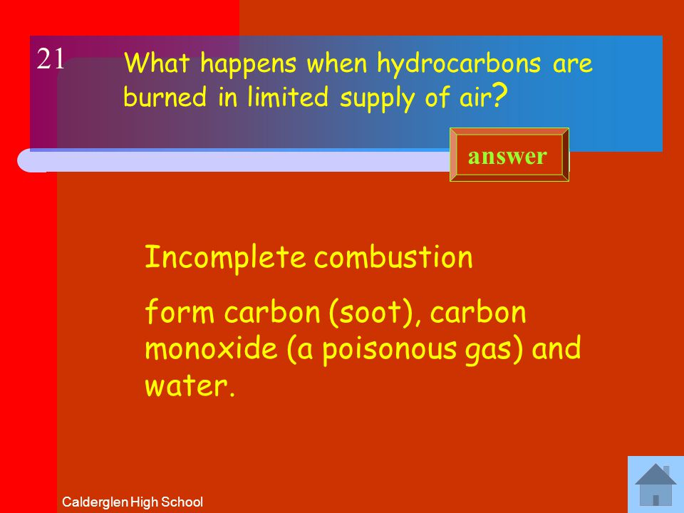 Calderglen High School What happens when HYDROCARBONS are burned in a plentiful supply of oxygen .