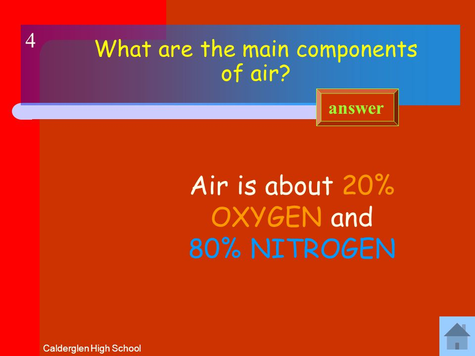 Calderglen High School What is the test for oxygen Oxygen relights a GLOWING taper answer 3