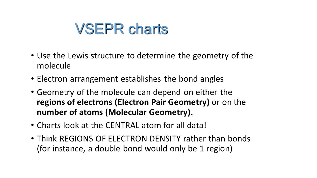 VSEPR charts Use the Lewis structure to determine the geometry of the molecule Use the Lewis structure to determine the geometry of the molecule Electron arrangement establishes the bond angles Electron arrangement establishes the bond angles Geometry of the molecule can depend on either the regions of electrons (Electron Pair Geometry) or on the number of atoms (Molecular Geometry).