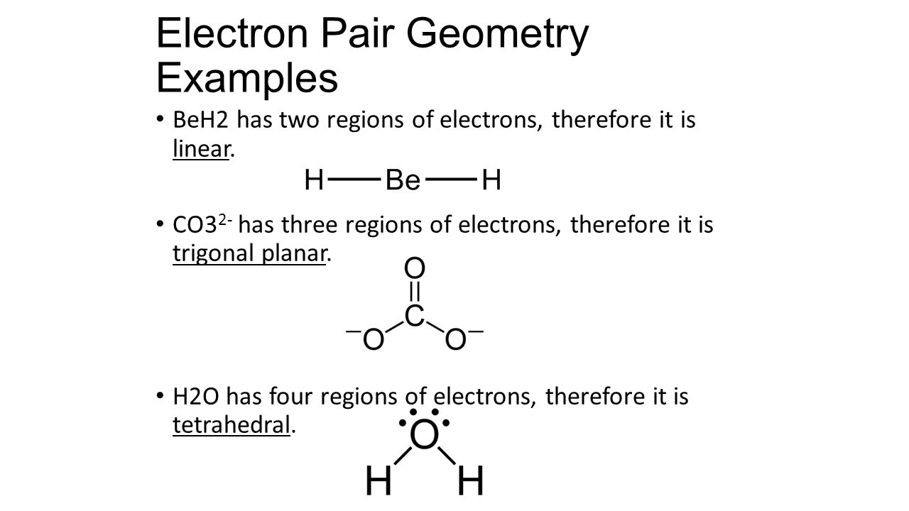 Electron Pair Geometry Examples BeH2 has two regions of electrons, therefore it is linear.