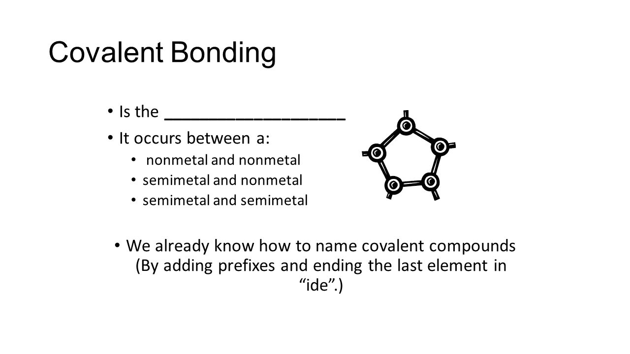 Covalent Bonding Is the ____________________ It occurs between a: nonmetal and nonmetal semimetal and nonmetal semimetal and semimetal We already know how to name covalent compounds (By adding prefixes and ending the last element in ide .)