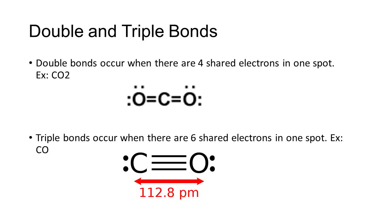 Double and Triple Bonds Double bonds occur when there are 4 shared electrons in one spot.