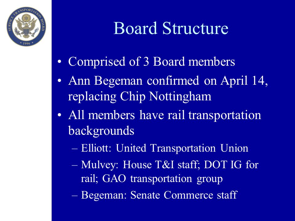 Board Structure Comprised of 3 Board members Ann Begeman confirmed on April 14, replacing Chip Nottingham All members have rail transportation backgrounds –Elliott: United Transportation Union –Mulvey: House T&I staff; DOT IG for rail; GAO transportation group –Begeman: Senate Commerce staff