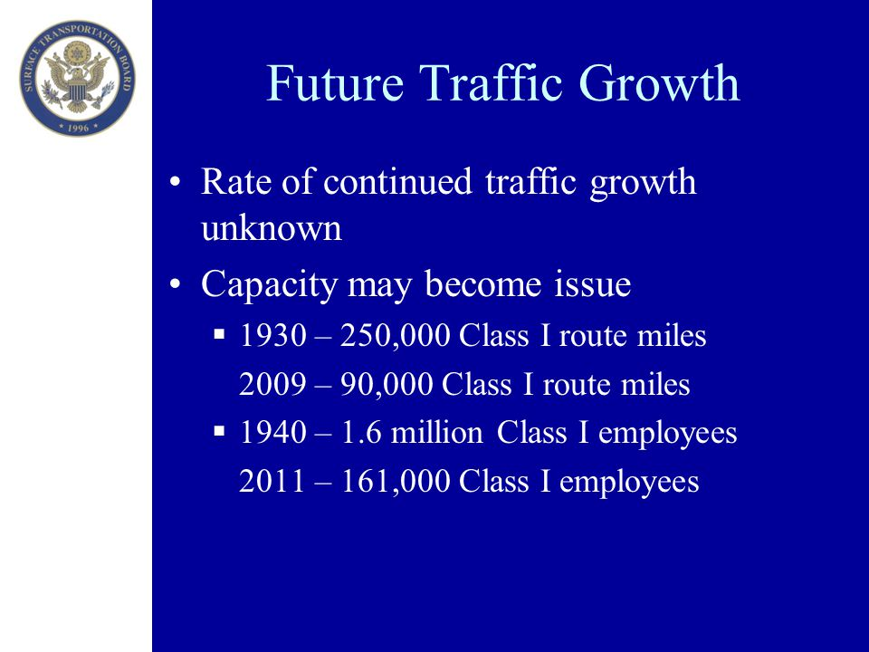 Future Traffic Growth Rate of continued traffic growth unknown Capacity may become issue  1930 – 250,000 Class I route miles 2009 – 90,000 Class I route miles  1940 – 1.6 million Class I employees 2011 – 161,000 Class I employees