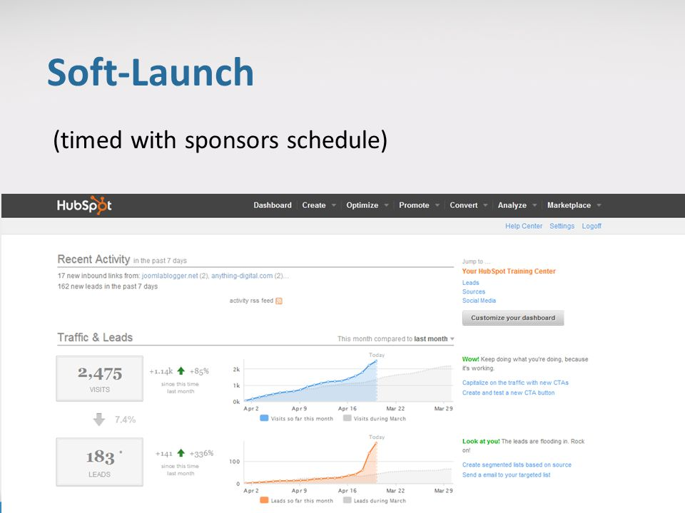 Soft-Launch (timed with sponsors schedule)
