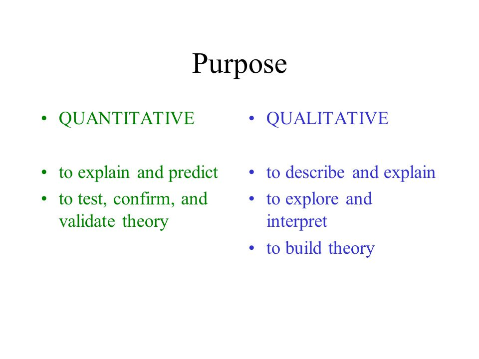 Purpose QUANTITATIVE to explain and predict to test, confirm, and validate theory QUALITATIVE to describe and explain to explore and interpret to build theory