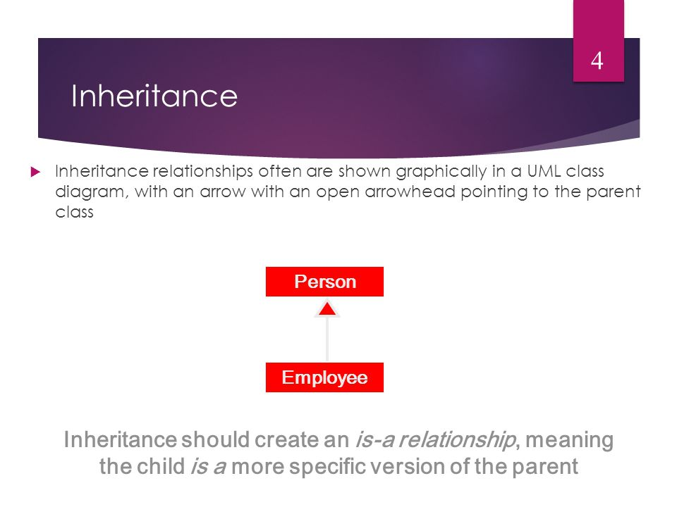 Inheritance  Inheritance relationships often are shown graphically in a UML class diagram, with an arrow with an open arrowhead pointing to the parent class 4 Inheritance should create an is-a relationship, meaning the child is a more specific version of the parent Person Employee