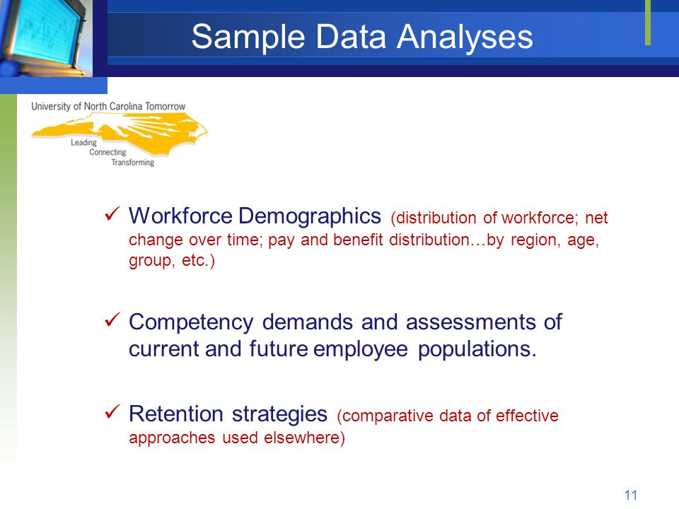 Sample Data Analyses Workforce Demographics (distribution of workforce; net change over time; pay and benefit distribution…by region, age, group, etc.) Competency demands and assessments of current and future employee populations.