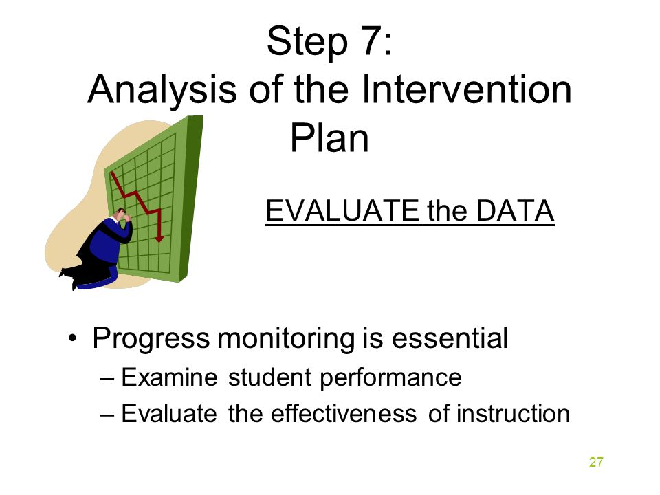 Step 7: Analysis of the Intervention Plan EVALUATE the DATA Progress monitoring is essential –Examine student performance –Evaluate the effectiveness of instruction 27