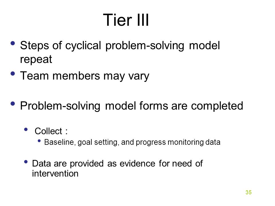 Tier III Steps of cyclical problem-solving model repeat Team members may vary Problem-solving model forms are completed Collect : Baseline, goal setting, and progress monitoring data Data are provided as evidence for need of intervention 35