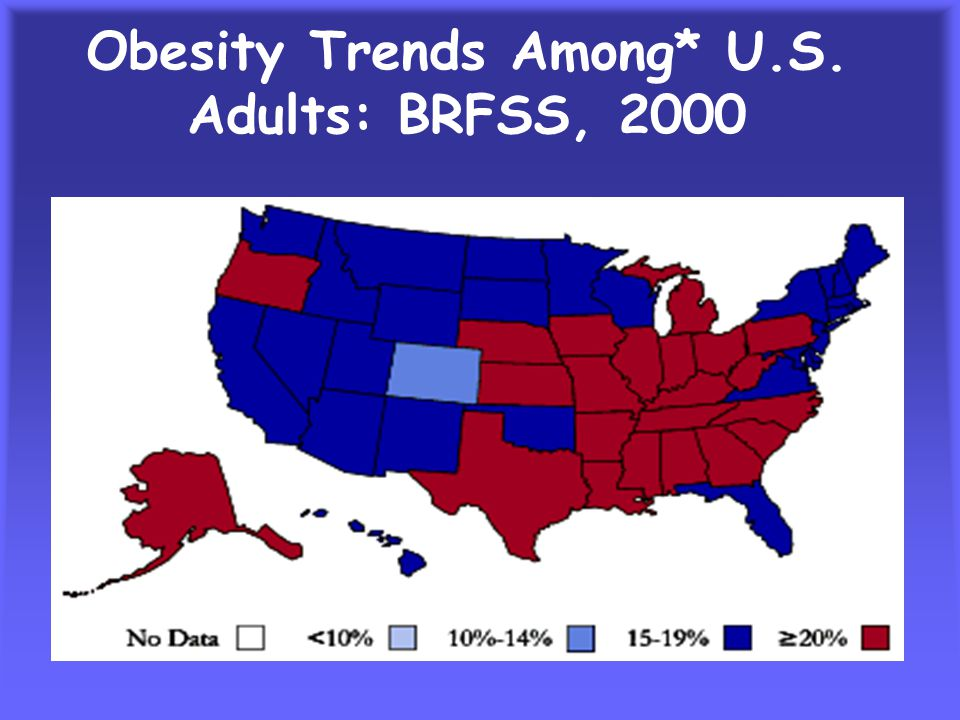 Obesity Trends* Among U.S. Adults: BRFSS, 1994 (*BMI > 30, or ~ 30 lbs overweight for 5'4 woman)