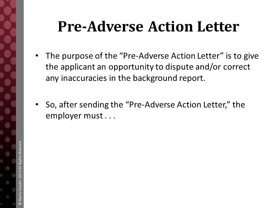 Pre Adverse Action Letter Sample from images.slideplayer.com