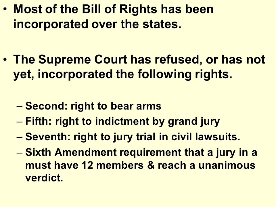 Most of the Bill of Rights has been incorporated over the states.Most of the Bill of Rights has been incorporated over the states.