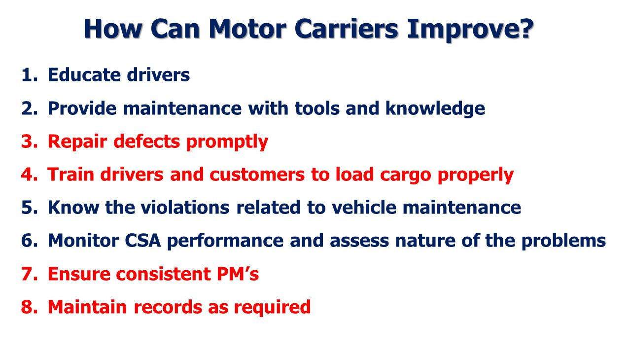 How Can Motor Carriers Improve.