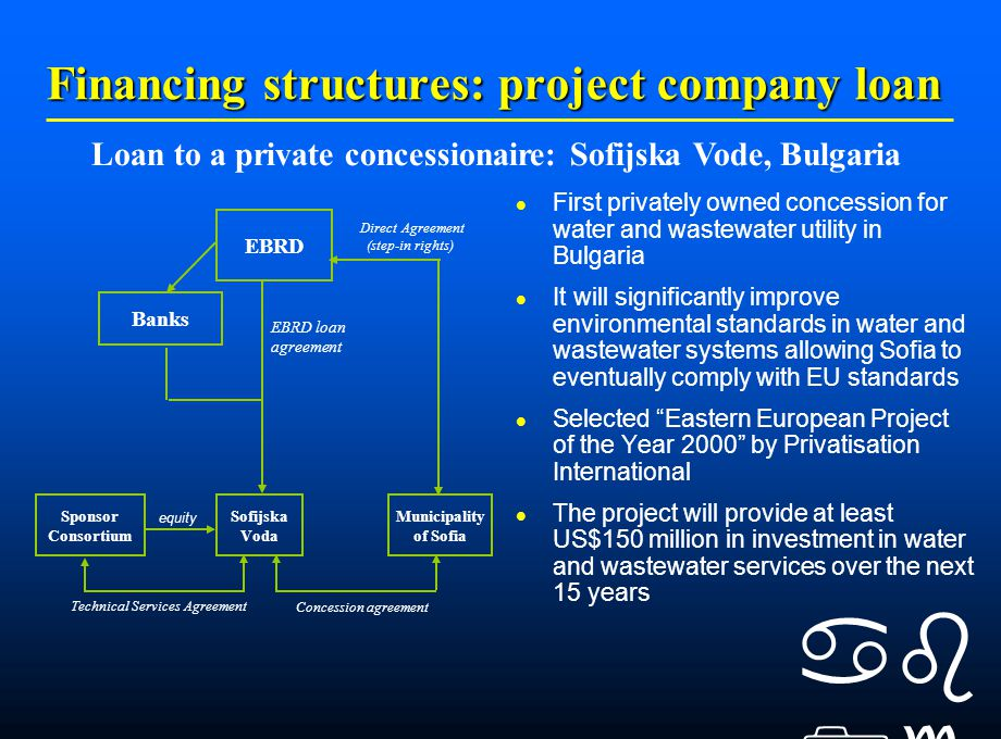    Financing structures: project company loan First privately owned concession for water and wastewater utility in Bulgaria It will significantly improve environmental standards in water and wastewater systems allowing Sofia to eventually comply with EU standards Selected Eastern European Project of the Year 2000 by Privatisation International The project will provide at least US$150 million in investment in water and wastewater services over the next 15 years Loan to a private concessionaire: Sofijska Vode, Bulgaria equity Direct Agreement (step-in rights) Technical Services Agreement Concession agreement EBRD Municipality of Sofia Sofijska Voda Sponsor Consortium Banks EBRD loan agreement