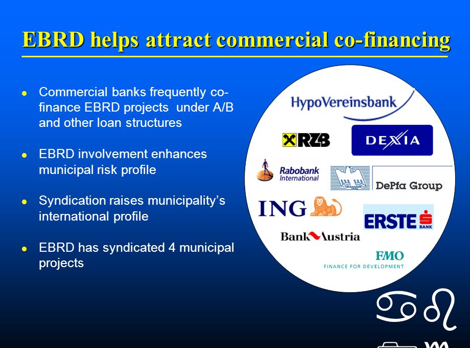    EBRD helps attract commercial co-financing Commercial banks frequently co- finance EBRD projects under A/B and other loan structures EBRD involvement enhances municipal risk profile Syndication raises municipality's international profile EBRD has syndicated 4 municipal projects
