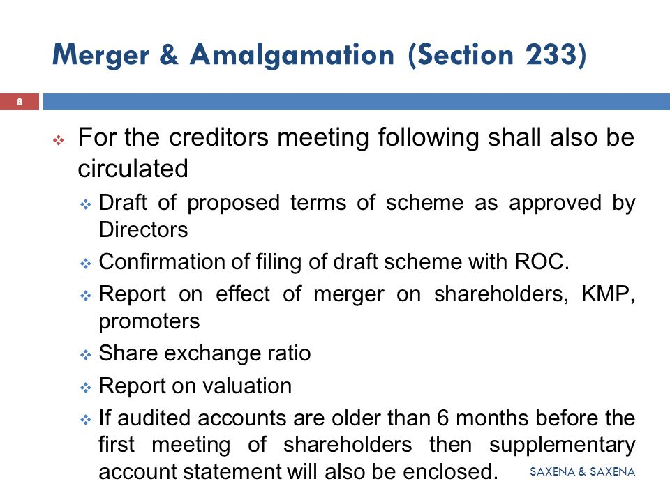 Merger & Amalgamation (Section 233)  For the creditors meeting following shall also be circulated  Draft of proposed terms of scheme as approved by Directors  Confirmation of filing of draft scheme with ROC.