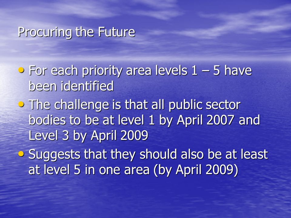For each priority area levels 1 – 5 have been identified For each priority area levels 1 – 5 have been identified The challenge is that all public sector bodies to be at level 1 by April 2007 and Level 3 by April 2009 The challenge is that all public sector bodies to be at level 1 by April 2007 and Level 3 by April 2009 Suggests that they should also be at least at level 5 in one area (by April 2009) Suggests that they should also be at least at level 5 in one area (by April 2009)