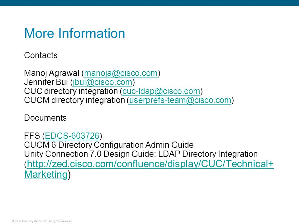 2008 Cisco Systems, Inc  All rights reserved  Cisco Unity