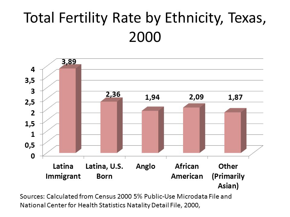 Total Fertility Rate by Ethnicity, Texas, 2000 Sources: Calculated from Census % Public-Use Microdata File and National Center for Health Statistics Natality Detail File, 2000,