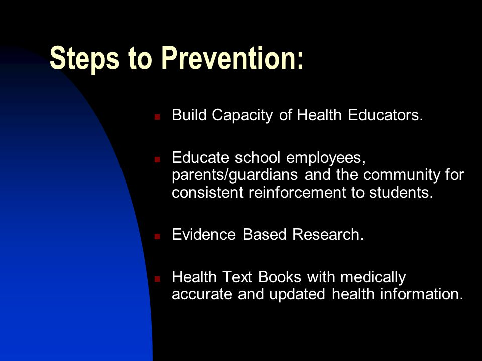 Steps to Prevention: Build Capacity of Health Educators.