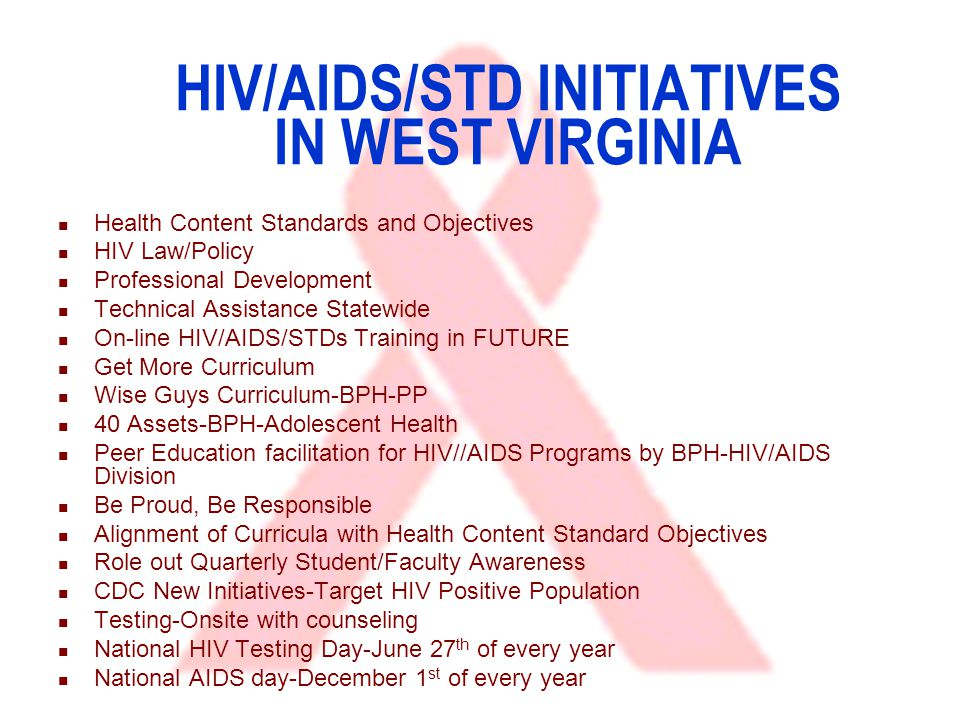 HIV/AIDS/STD INITIATIVES IN WEST VIRGINIA Health Content Standards and Objectives HIV Law/Policy Professional Development Technical Assistance Statewide On-line HIV/AIDS/STDs Training in FUTURE Get More Curriculum Wise Guys Curriculum-BPH-PP 40 Assets-BPH-Adolescent Health Peer Education facilitation for HIV//AIDS Programs by BPH-HIV/AIDS Division Be Proud, Be Responsible Alignment of Curricula with Health Content Standard Objectives Role out Quarterly Student/Faculty Awareness CDC New Initiatives-Target HIV Positive Population Testing-Onsite with counseling National HIV Testing Day-June 27 th of every year National AIDS day-December 1 st of every year