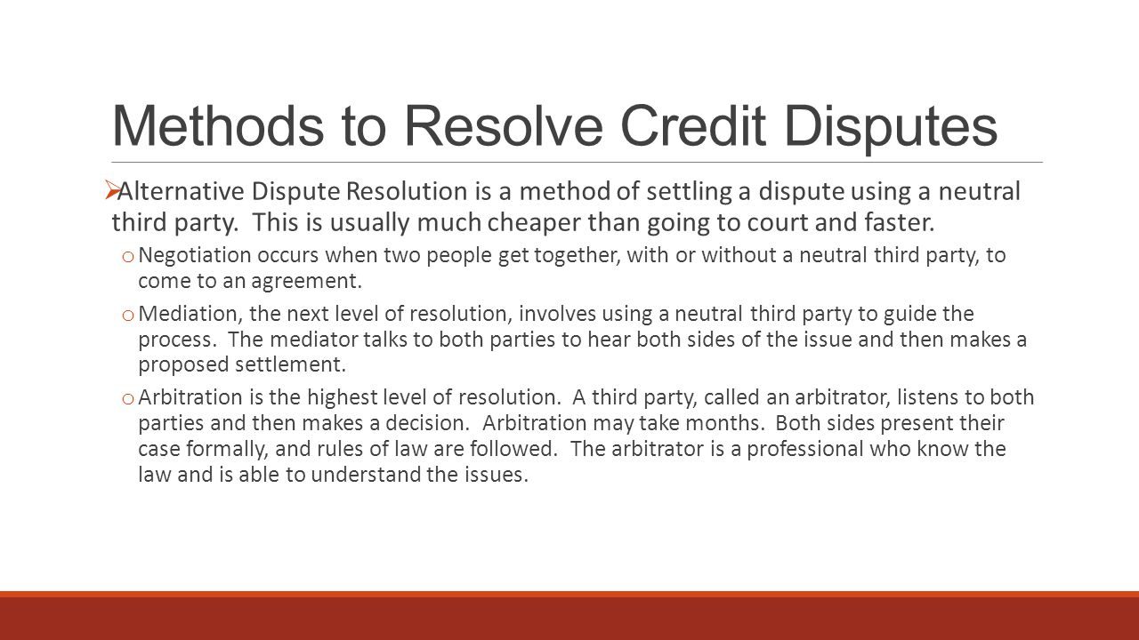 alternative dispute resolution methods 5 alternative dispute resolution (adr) methods civil disputes occur when a person's rights have been infringed or an individual has been injured as a result of another person's action or inaction adr involves settling a civil legal dispute by a method other than a al decision before a court.