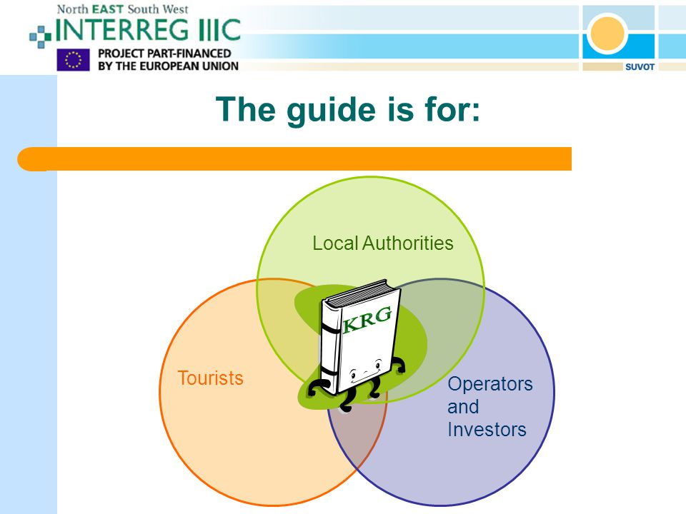 The guide is for: Local Authorities Tourists Operators and Investors