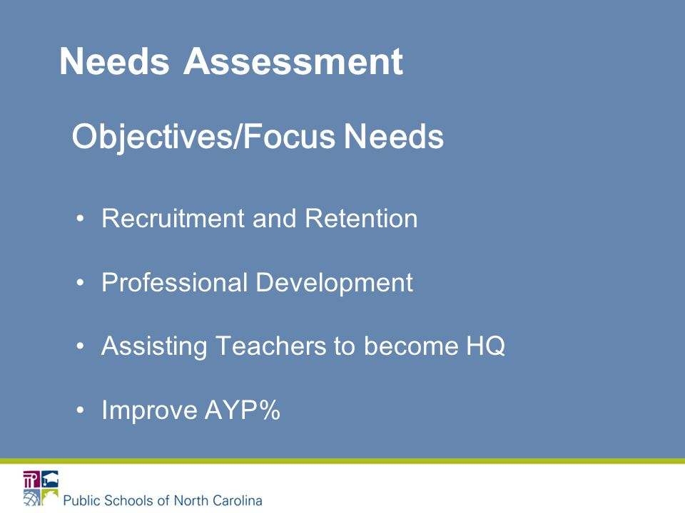 Needs Assessment Objectives/Focus Needs Recruitment and Retention Professional Development Assisting Teachers to become HQ Improve AYP%