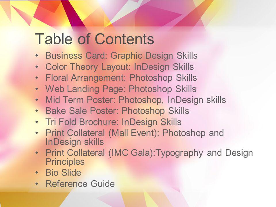 Design portfolio by akshay potdar table of contents business card 2 table of contents business card reheart Choice Image