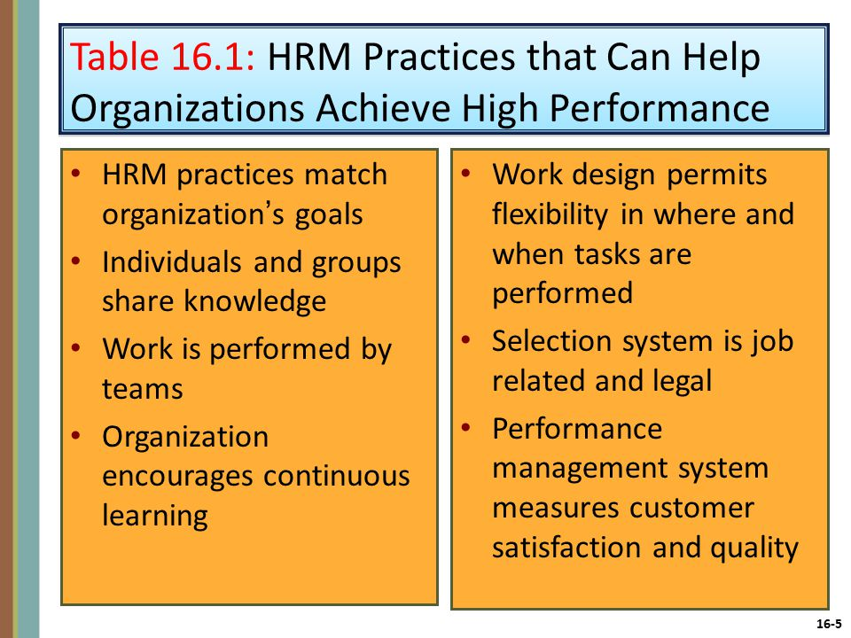 16-5 Table 16.1: HRM Practices that Can Help Organizations Achieve High Performance HRM practices match organization's goals Individuals and groups share knowledge Work is performed by teams Organization encourages continuous learning Work design permits flexibility in where and when tasks are performed Selection system is job related and legal Performance management system measures customer satisfaction and quality