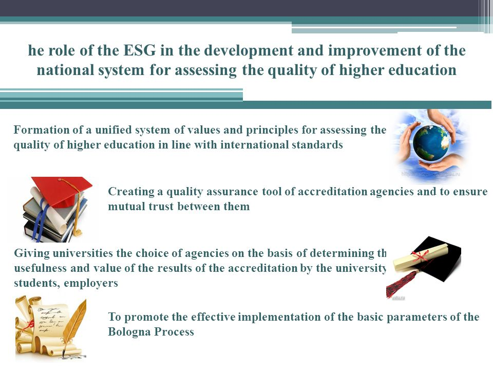 Formation of a unified system of values ​​ and principles for assessing the quality of higher education in line with international standards he role of the ESG in the development and improvement of the national system for assessing the quality of higher education Creating a quality assurance tool of accreditation agencies and to ensure mutual trust between them Giving universities the choice of agencies on the basis of determining the usefulness and value of the results of the accreditation by the university, students, employers To promote the effective implementation of the basic parameters of the Bologna Process