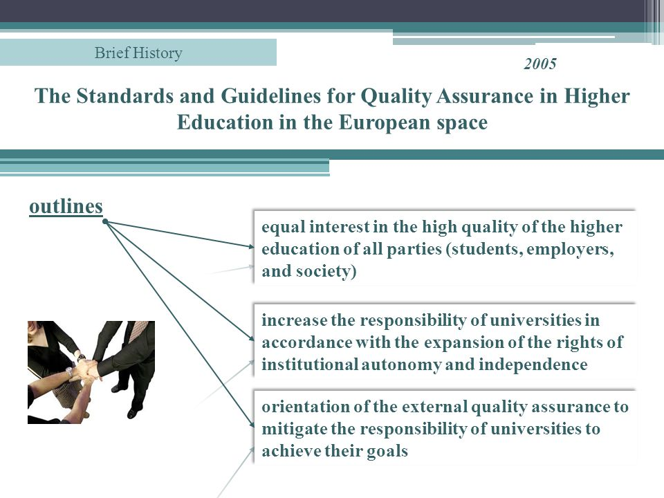 The Standards and Guidelines for Quality Assurance in Higher Education in the European space 2005 Brief History increase the responsibility of universities in accordance with the expansion of the rights of institutional autonomy and independence outlines equal interest in the high quality of the higher education of all parties (students, employers, and society) orientation of the external quality assurance to mitigate the responsibility of universities to achieve their goals