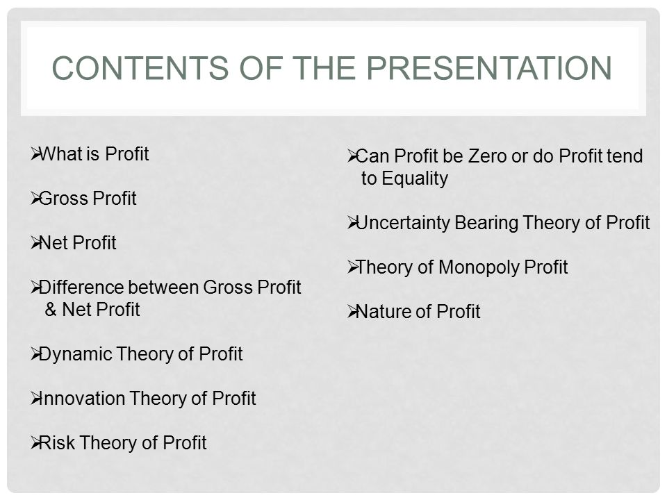 Profit: meaning and theories of profit.