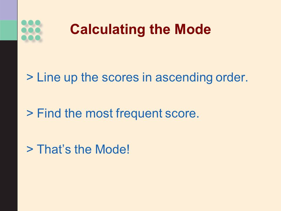 Calculating the Mode >Line up the scores in ascending order.