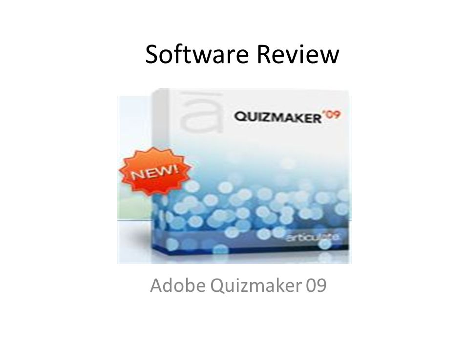 Software Review Adobe Quizmaker 09