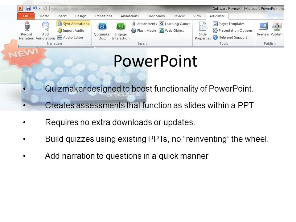 PowerPoint Quizmaker designed to boost functionality of PowerPoint.