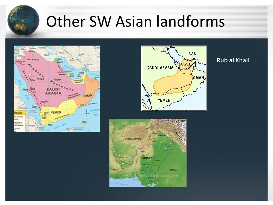 Other SW Asian landforms Rub al Khali