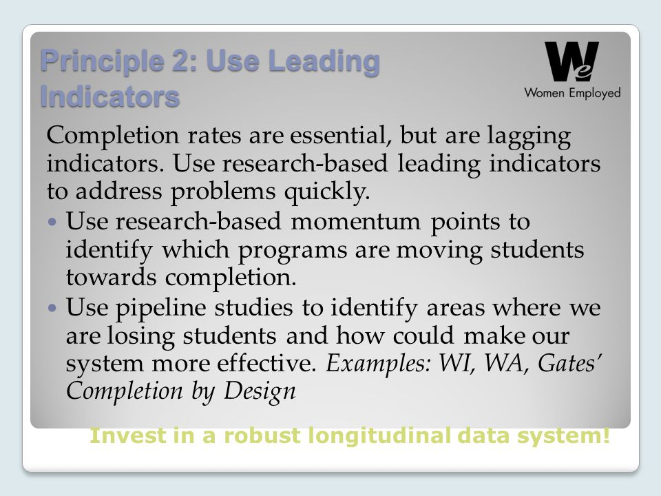 Principle 2: Use Leading Indicators Completion rates are essential, but are lagging indicators.
