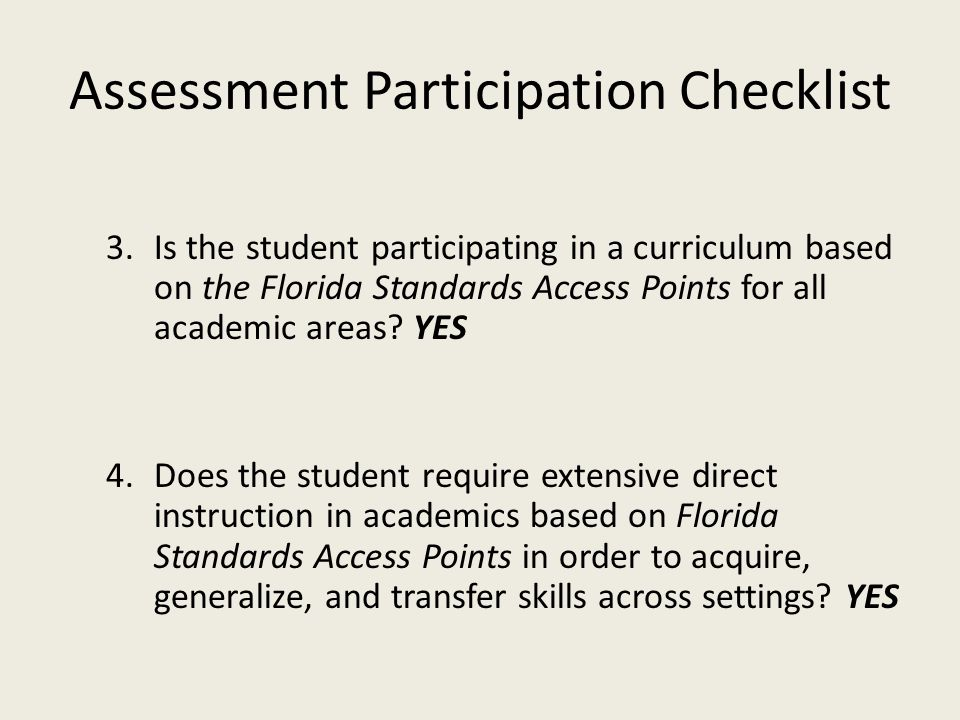 Assessment Participation Checklist Questions for IEP Team 2.
