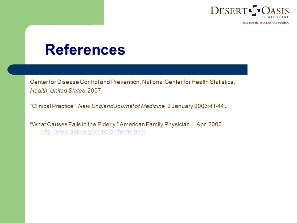 References Center for Disease Control and Prevention, National Center for Health Statistics, Health, United States, 2007.
