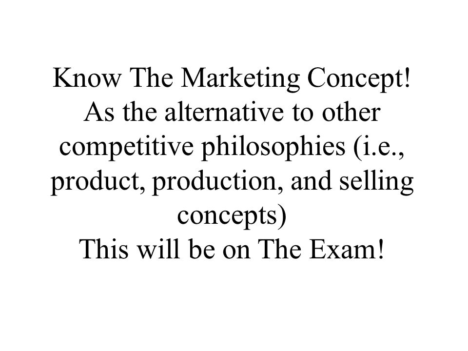 Know The Marketing Concept.