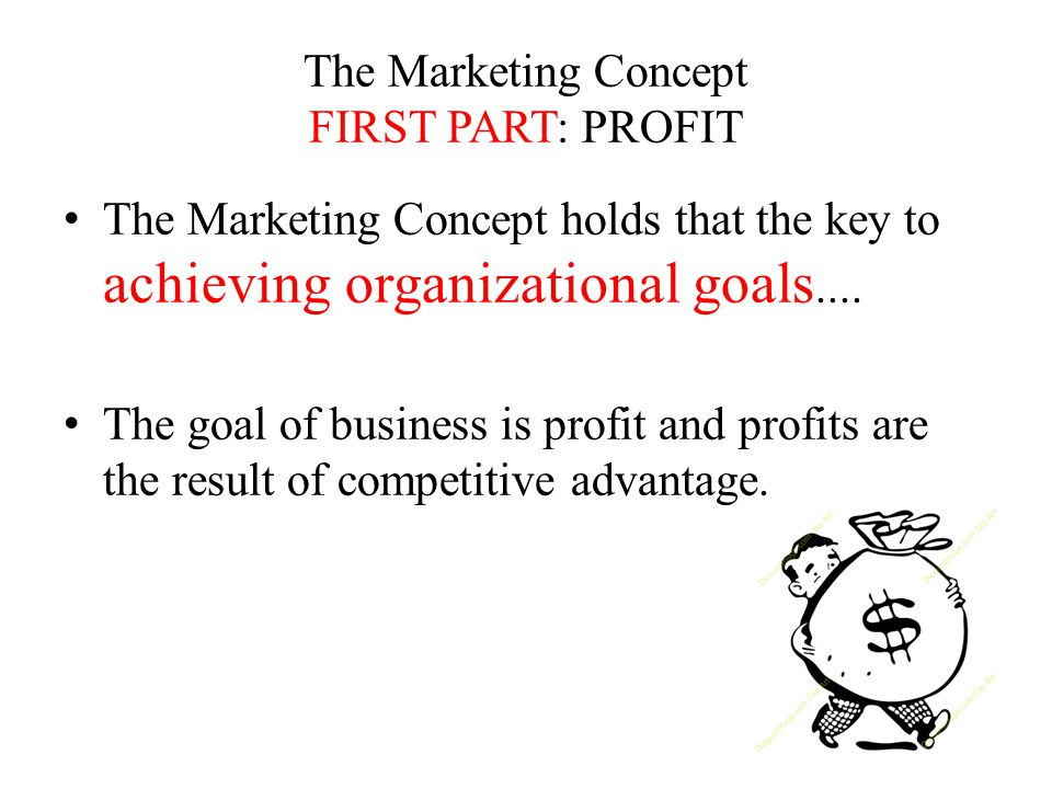 The Marketing Concept FIRST PART: PROFIT The Marketing Concept holds that the key to achieving organizational goals....