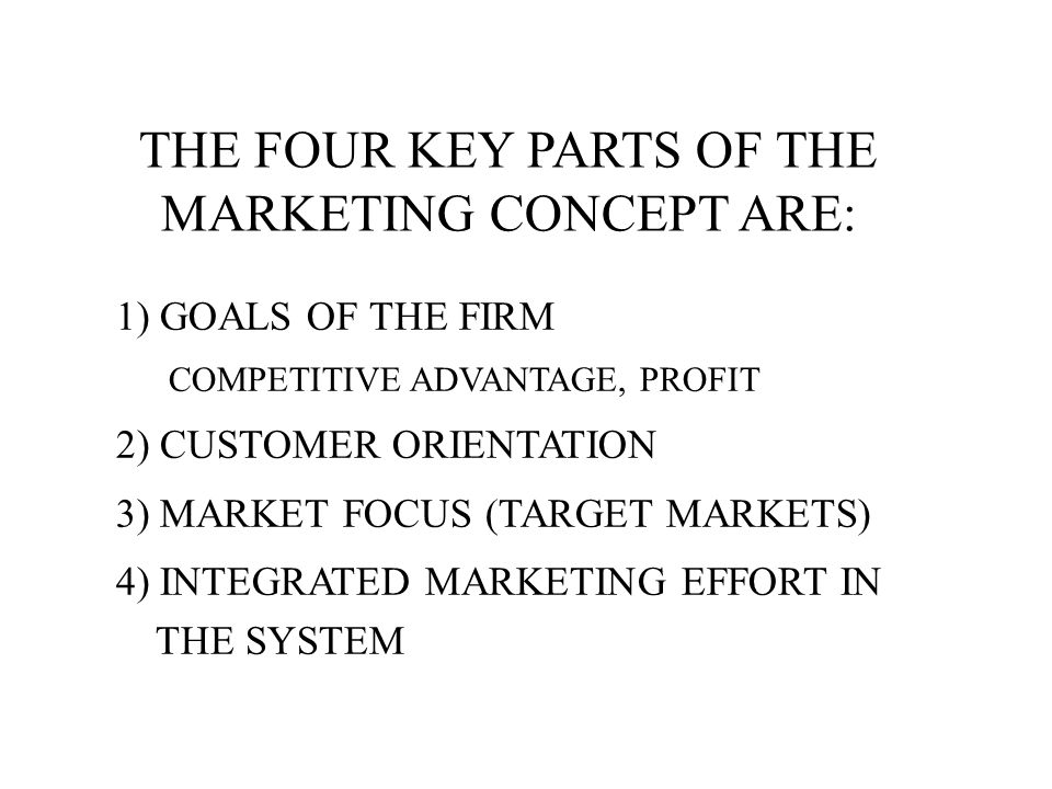 THE FOUR KEY PARTS OF THE MARKETING CONCEPT ARE: 1) GOALS OF THE FIRM COMPETITIVE ADVANTAGE, PROFIT 2) CUSTOMER ORIENTATION 3) MARKET FOCUS (TARGET MARKETS) 4) INTEGRATED MARKETING EFFORT IN THE SYSTEM