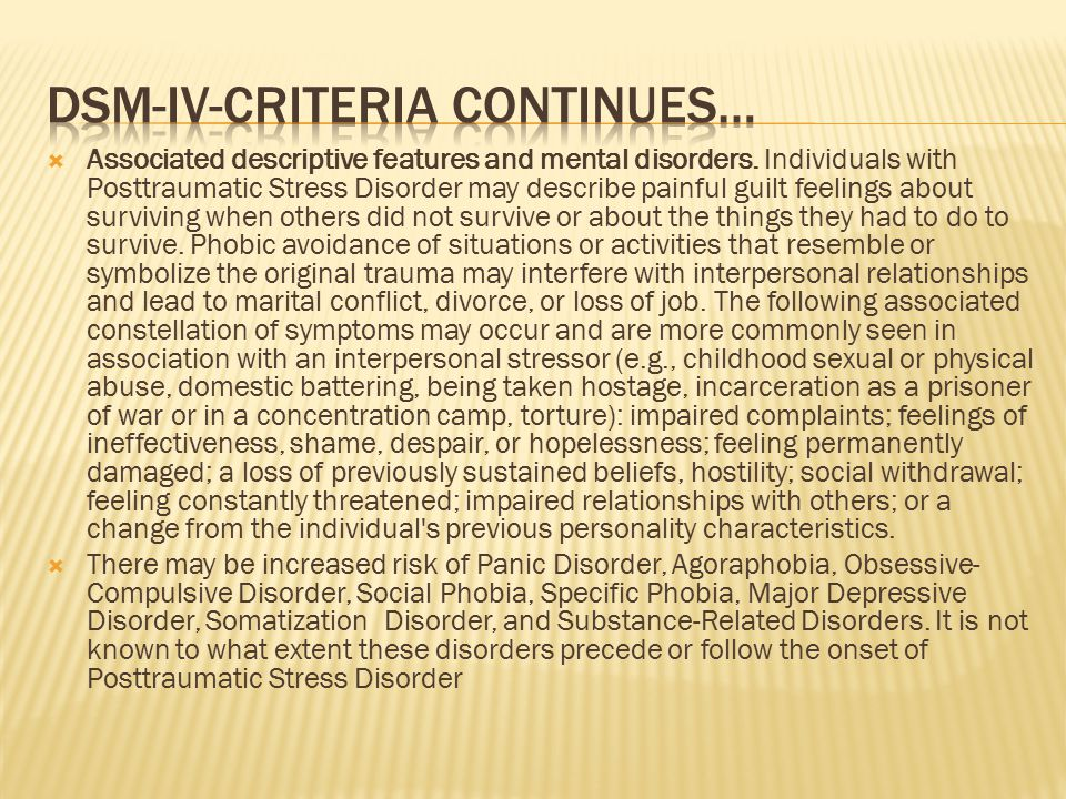  Associated descriptive features and mental disorders.