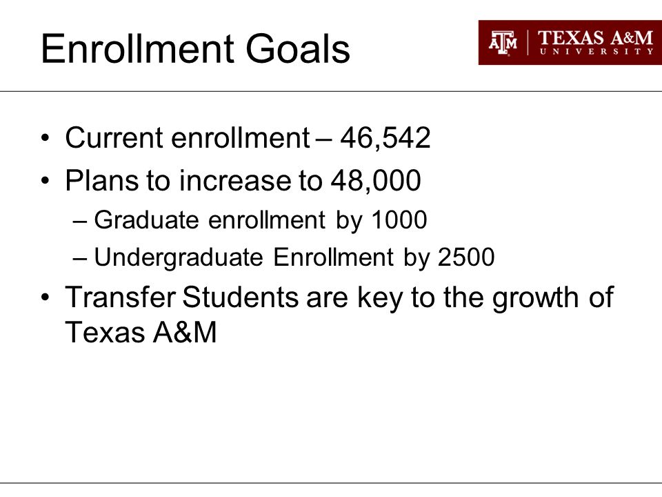 Enrollment Goals Current enrollment – 46,542 Plans to increase to 48,000 –Graduate enrollment by 1000 –Undergraduate Enrollment by 2500 Transfer Students are key to the growth of Texas A&M