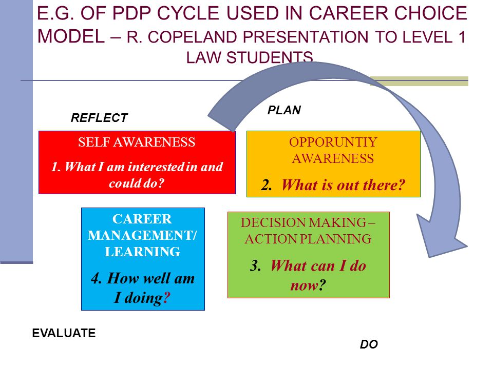 E.G. OF PDP CYCLE USED IN CAREER CHOICE MODEL – R.