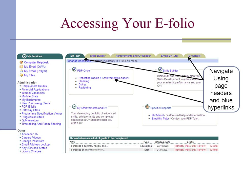 Accessing Your E-folio Navigate Using page headers and blue hyperlinks